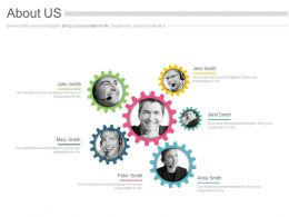 Six Gears For Business Profile And About Us Powerpoint Slides