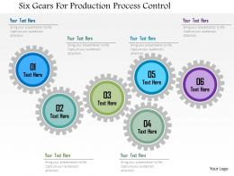 Six Gears For Production Process Control Flat Powerpoint Design