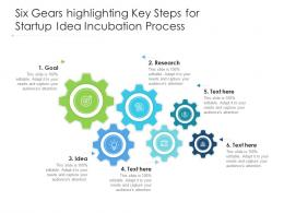 Six Gears Highlighting Key Steps For Startup Idea Incubation Process