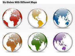 Six Globes With Different Maps Ppt Presentation Slides