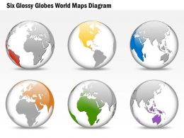 Six Glossy Globes World Map Diagram Ppt Presentation Slides