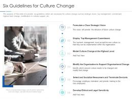 Six Guidelines For Culture Change Improving Workplace Culture Ppt Formats