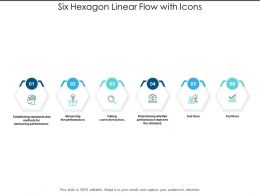 Six Hexagon Linear Flow With Icons