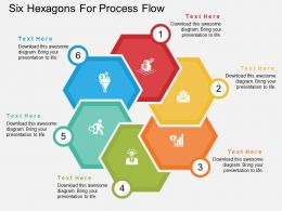 Six Hexagons For Process Flow Flat Powerpoint Design