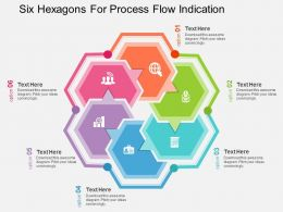 Six Hexagons For Process Flow Indication Flat Powerpoint Desgin