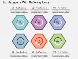 Six Hexagons With Buffering Icons Flat Powerpoint Design