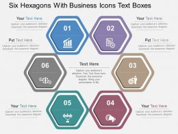 Six Hexagons With Business Icons Text Boxes Flat Powerpoint Design