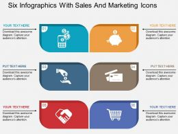 Six Infographics With Sales And Marketing Icons Flat Powerpoint Design