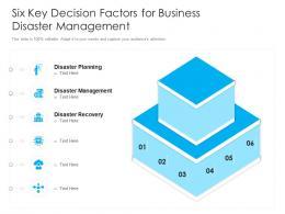 Six Key Decision Factors For Business Disaster Management