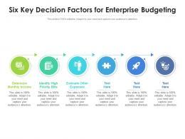 Six Key Decision Factors For Enterprise Budgeting
