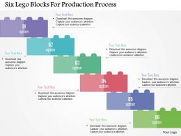 Six Lego Blocks For Production Process Flat Powerpoint Design