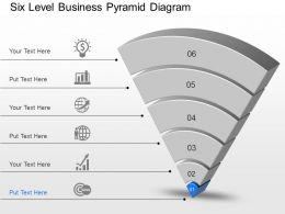 Six Level Business Pyramid Diagram Powerpoint Template Slide