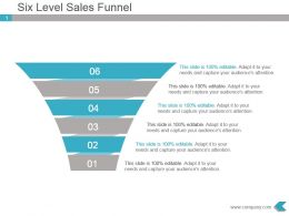 Six Level Sales Funnel Presentation Ppt Visual
