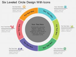 Six Leveled Circle Design With Icons Flat Powerpoint Design