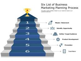 Six List Of Business Marketing Planning Process