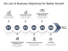 Six List Of Business Objectives For Better Growth