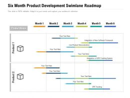 Six Month Product Development Swimlane Roadmap