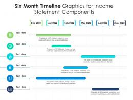Six Month Timeline Graphics For Income Statement Components Infographic Template