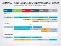 Six Monthly Product Design And Development Roadmap Template