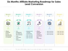 Six Months Affiliate Marketing Roadmap For Sales Lead Conversion