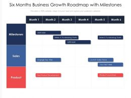 Six Months Business Growth Roadmap With Milestones