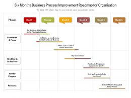 Six Months Business Process Improvement Roadmap For Organization