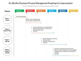 Six Months Business Process Management Roadmap For Improvement