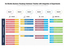 Six Months Business Roadmap Swimlane Timeline With Integration Of Departments