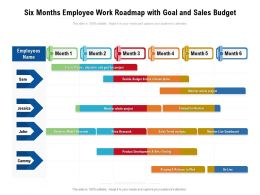 Six Months Employee Work Roadmap With Goal And Sales Budget