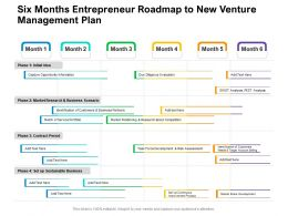 Six Months Entrepreneur Roadmap To New Venture Management Plan