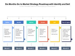 Six Months Go To Market Strategy Roadmap With Identify And Sell
