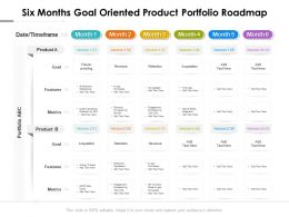 Six Months Goal Oriented Product Portfolio Roadmap