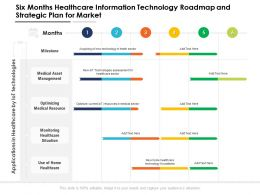 Six Months Healthcare Information Technology Roadmap And Strategic Plan For Market