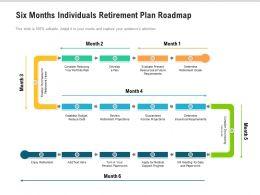 Six Months Individuals Retirement Plan Roadmap