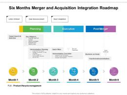 Six Months Merger And Acquisition Integration Roadmap