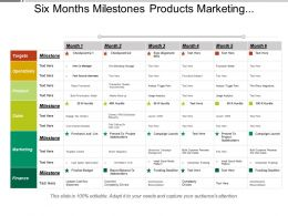 Six Months Milestones Products Marketing And Business Timeline