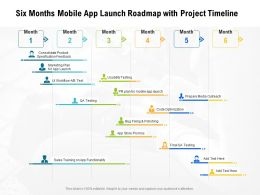 Six Months Mobile App Launch Roadmap With Project Timeline