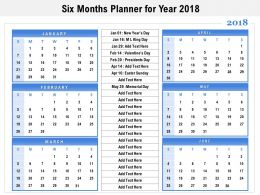Six Months Planner For Year 2018