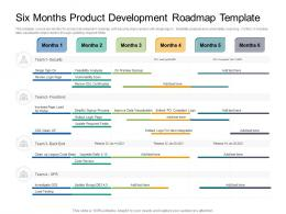 Six Months Product Development Roadmap Timeline Powerpoint Template