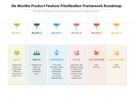 Six Months Product Feature Prioritization Framework Roadmap