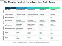 Six Months Products Operations And Agile Transformation Swimlane