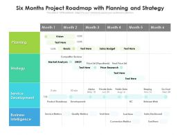 Six Months Project Roadmap With Planning And Strategy