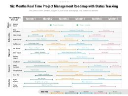 Six Months Real Time Project Management Roadmap With Status Tracking