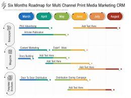 Six Months Roadmap For Multi Channel Print Media Marketing CRM