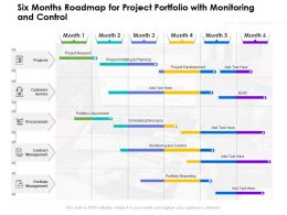 Six Months Roadmap For Project Portfolio With Monitoring And Control