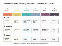 Six Months Roadmap For Strategy Alignment To Achieve Business Outcome