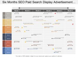 Six Months Seo Paid Search Display Advertisement And Digital Marketing Timeline