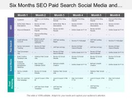 Six Months Seo Paid Search Social Media And Digital Marketing Swimlane
