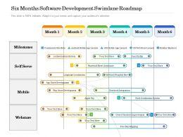 Six Months Software Development Swimlane Roadmap