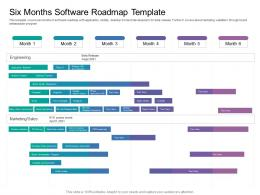 Six Months Software Roadmap Timeline Powerpoint Template